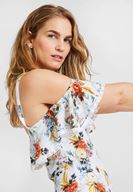 Women Mixed Off Shoulder Jumpsuit with Flower Pattern