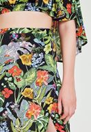 Women Mixed Flower Patterned Skirt with Slash Details