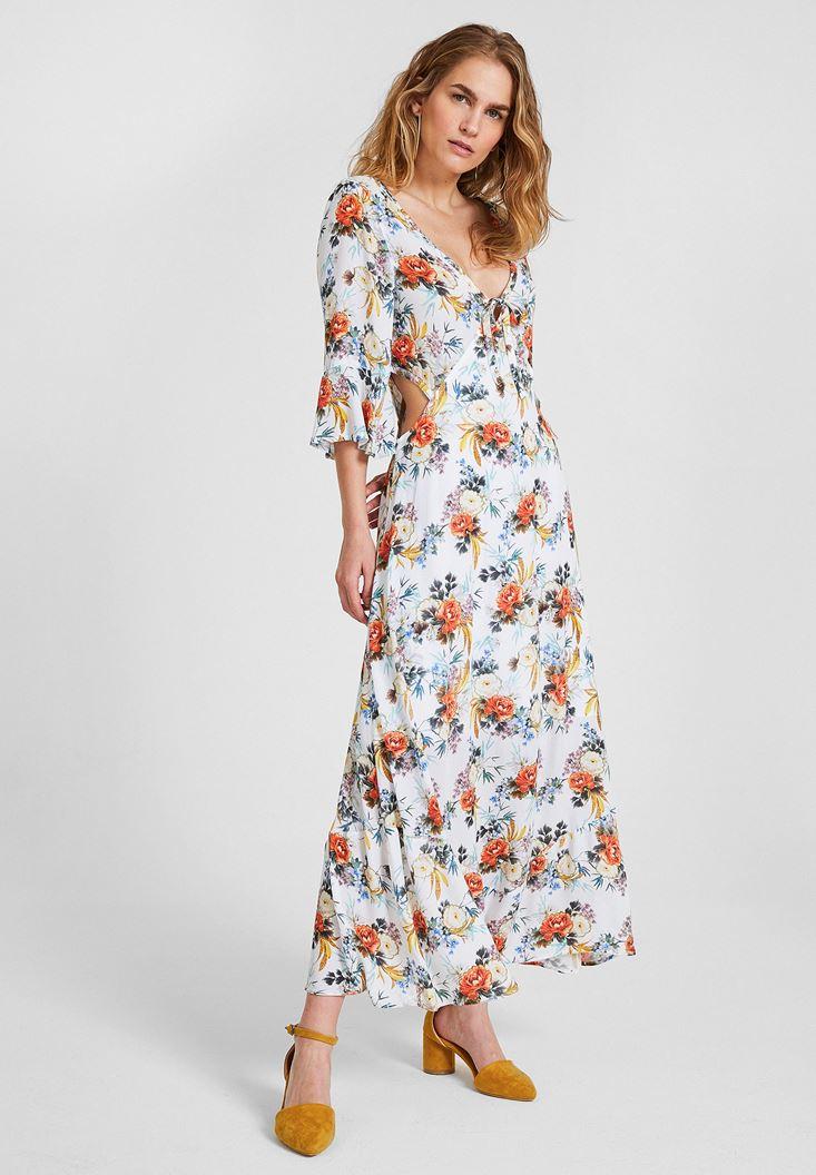 Çok Renkli Çiçek Desenli V Yaka Elbise