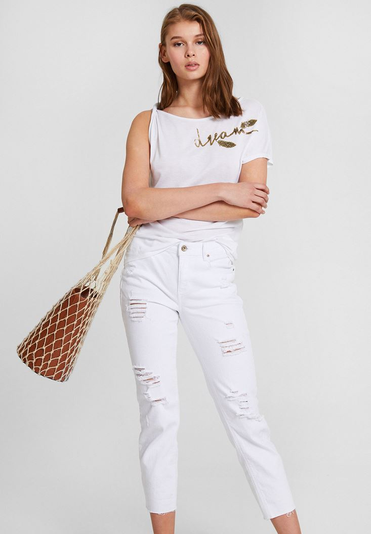 White Embroiredered T-Shirt