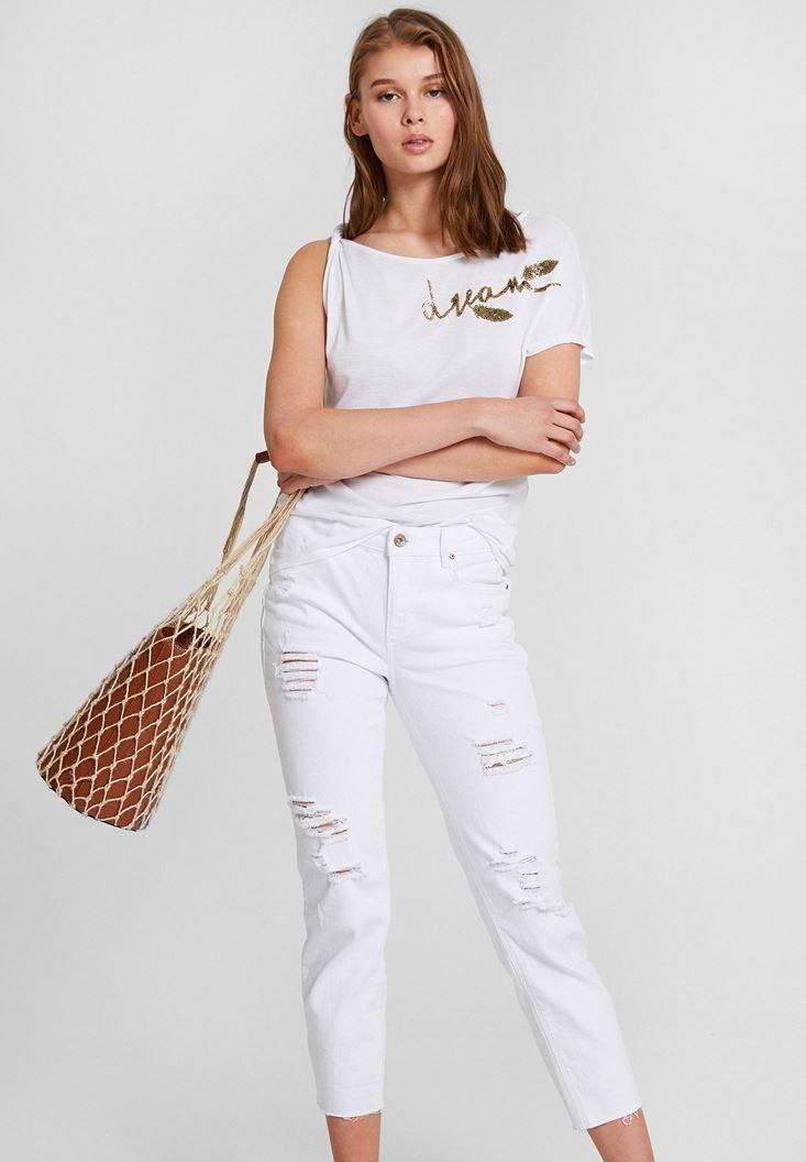Beyaz İşlemeli Tişört