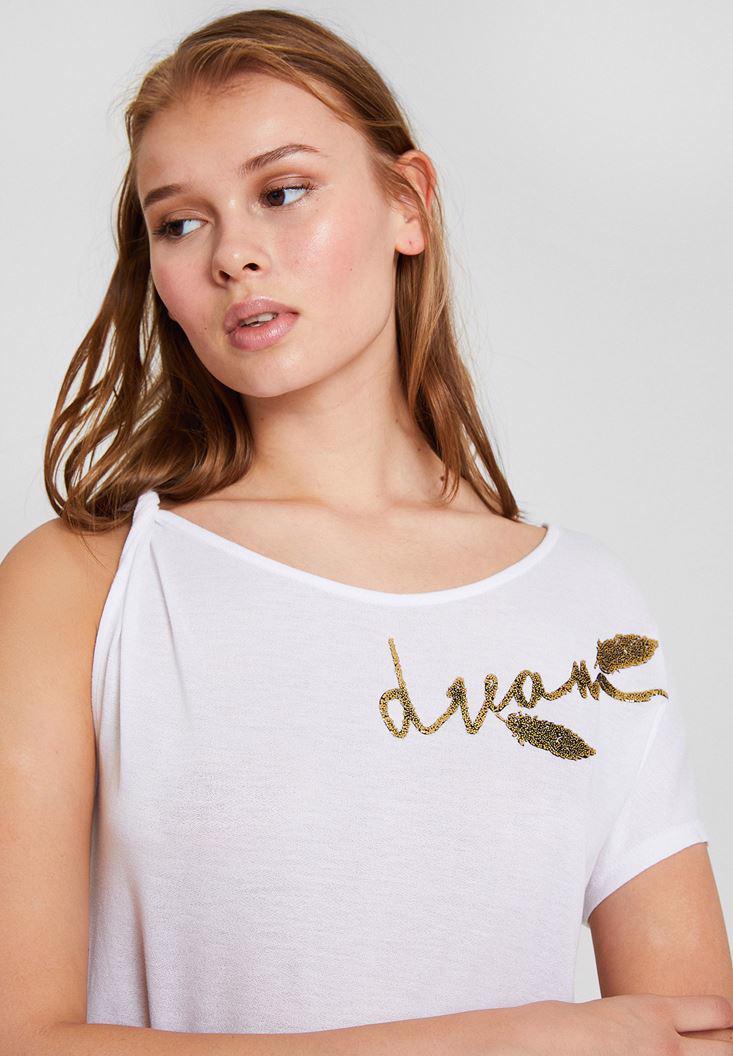 Bayan Beyaz İşlemeli Tişört