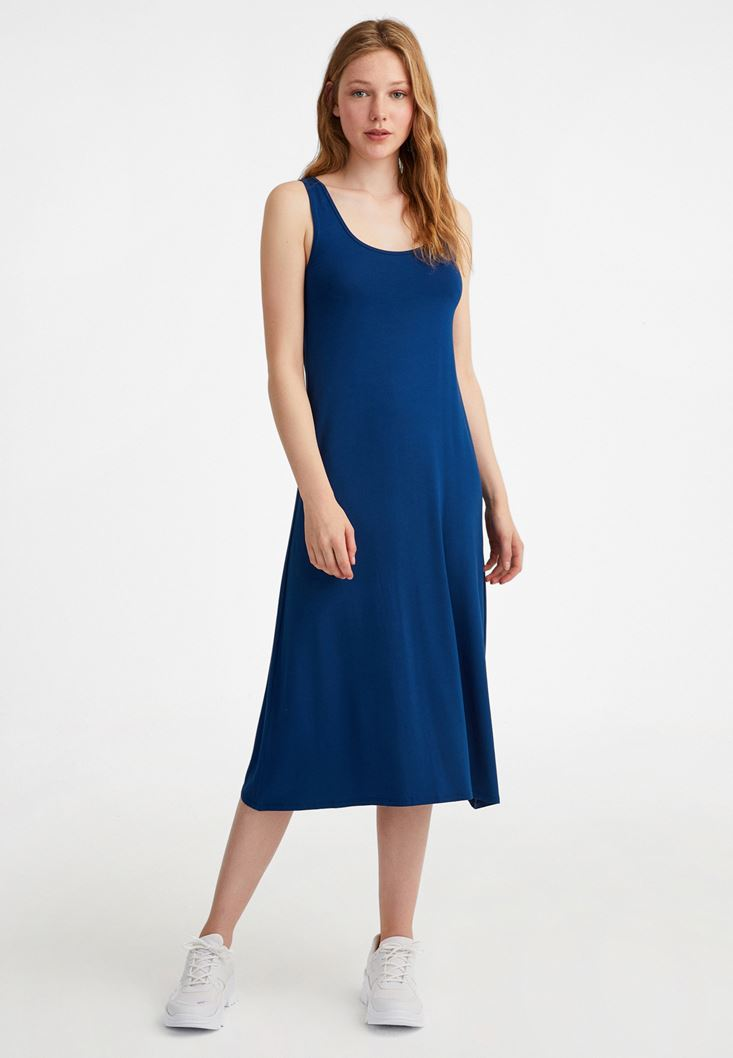 Navy U Neck Dress