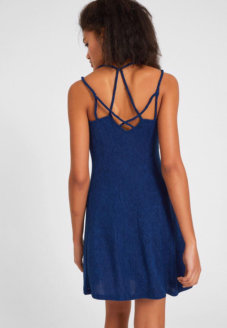 Bayan Lacivert Sırtı Biye Detaylı Elbise