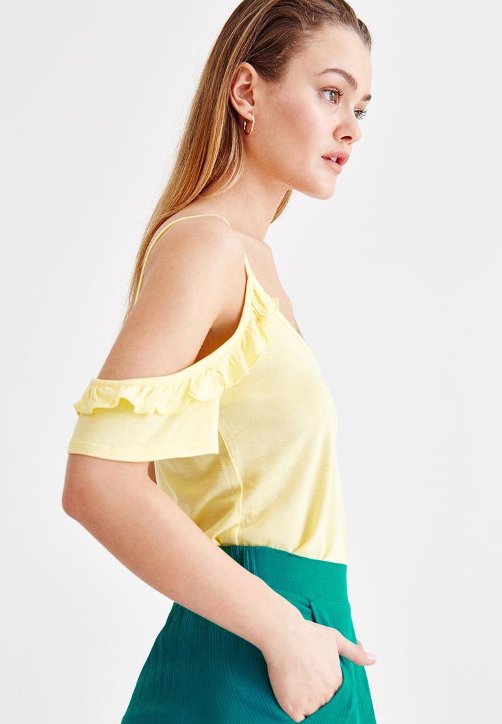 Women Yellow Blouse with Ruffle Details