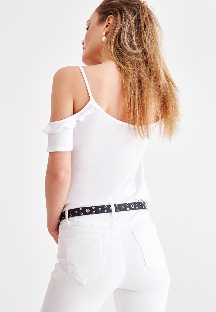 Bayan Beyaz İnce Askılı Fırfır Detaylı Bluz