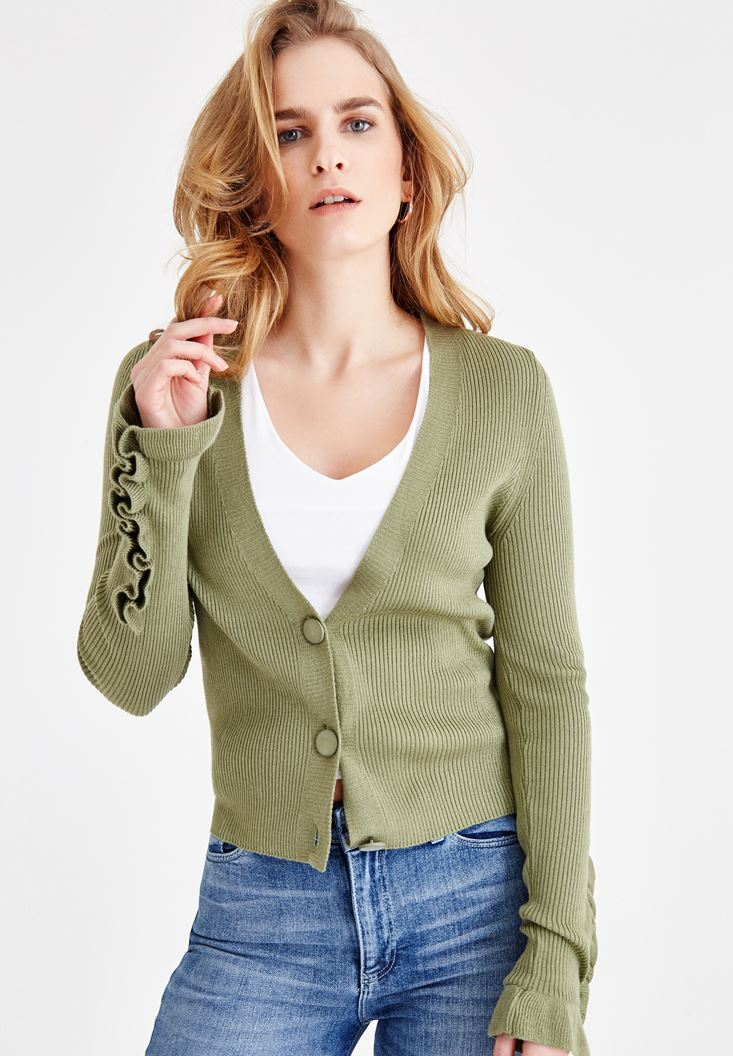 Green Buttoned Cardigan with Sleeve Details
