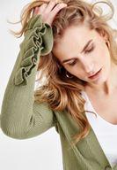 Bayan Yeşil Kolları Fırfır Detaylı Düğmeli Hırka