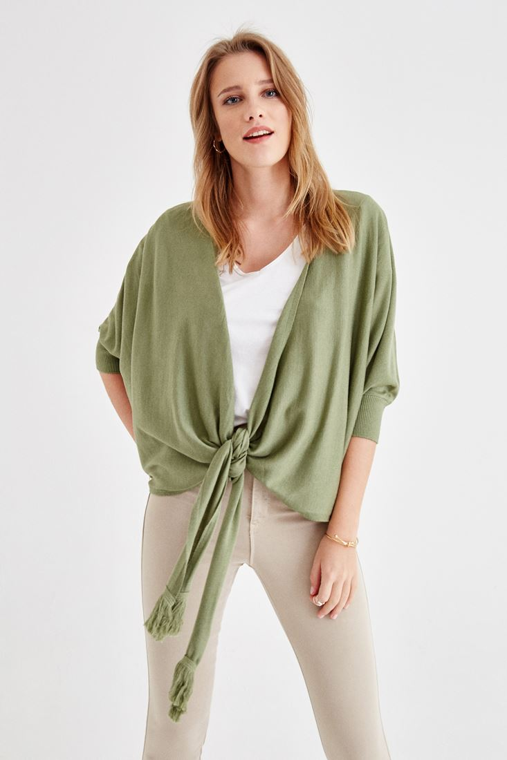 Green Cardigan with Lacing Detailed