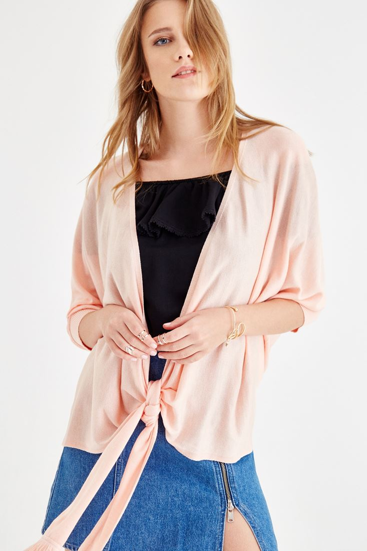Pink Cardigan with Lacing Detailed