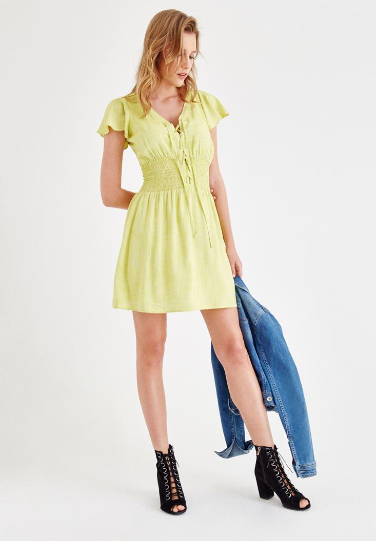 Yeşil Önü Bağlamalı Kol Detaylı Elbise