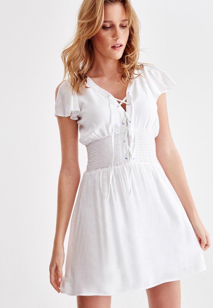 Bayan Beyaz Önü Bağlamalı Kol Detaylı Elbise