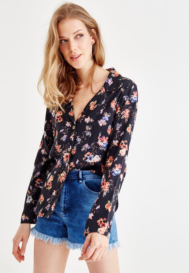 Bayan Çok Renkli Çiçek Desenli Gömlek