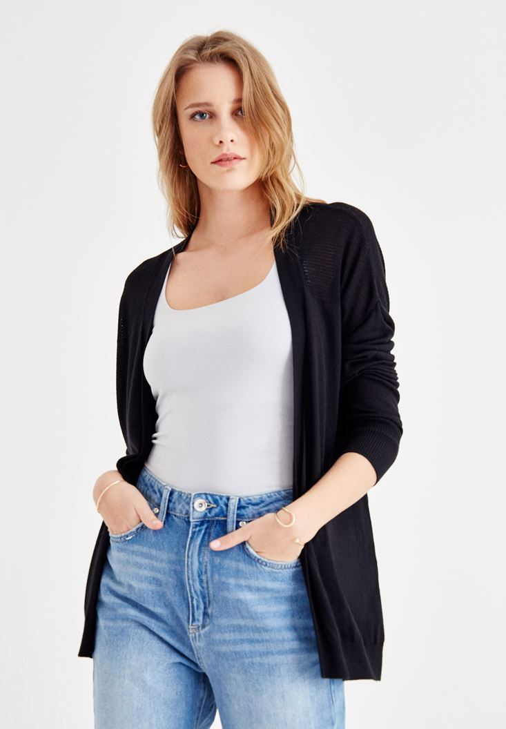 Black Long Sleeve Cardigan with Back Details
