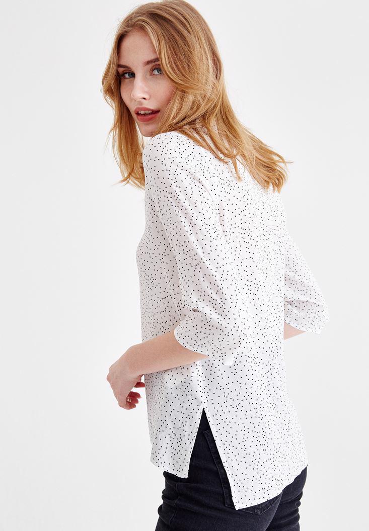 Bayan Çok Renkli Desenli Yarım Kollu Gömlek