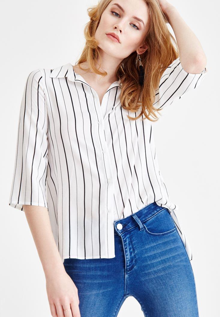Çok Renkli Desenli Yarım Kollu Gömlek
