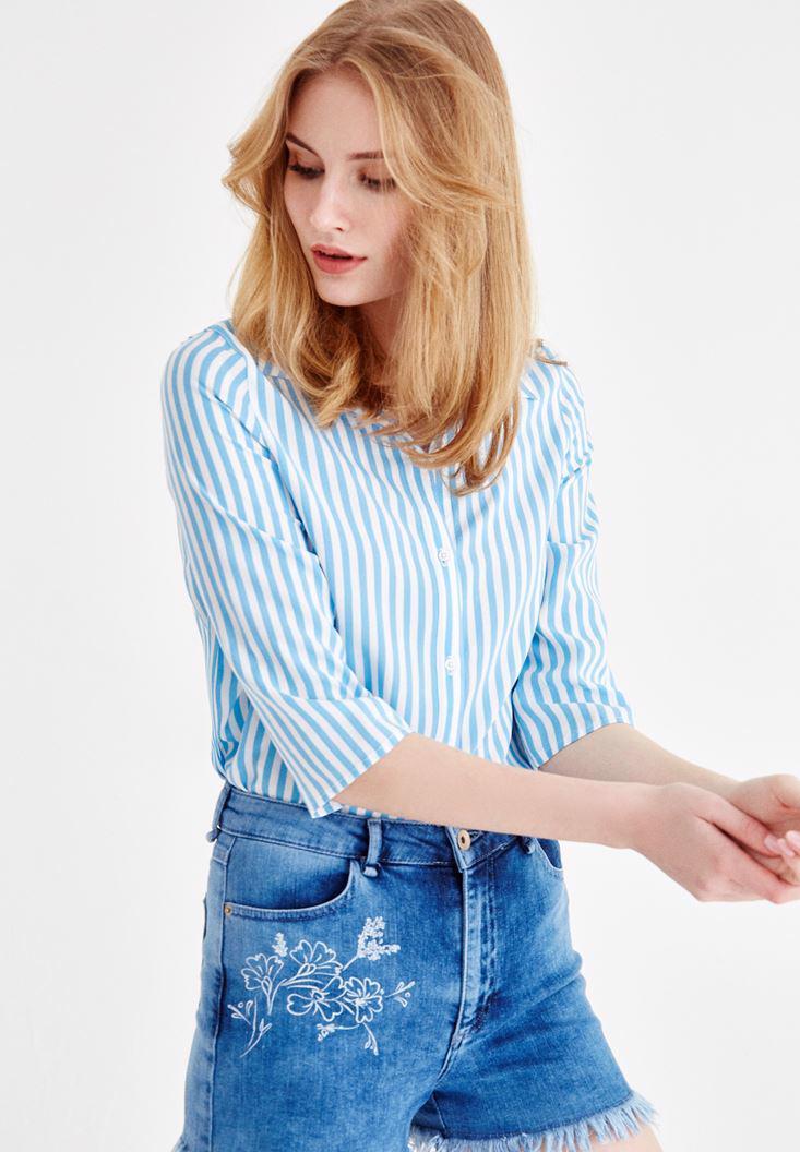 Women Blue Half Sleeve Patterned Shirt
