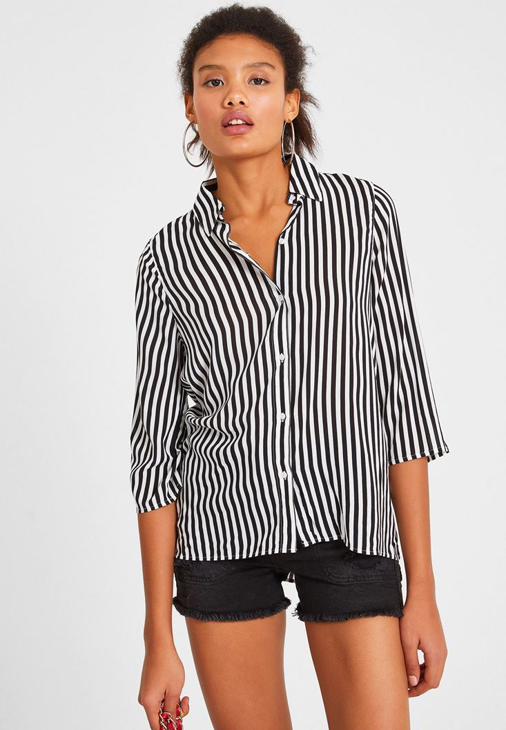Black Long Sleeve Shirt with Stripe Detail