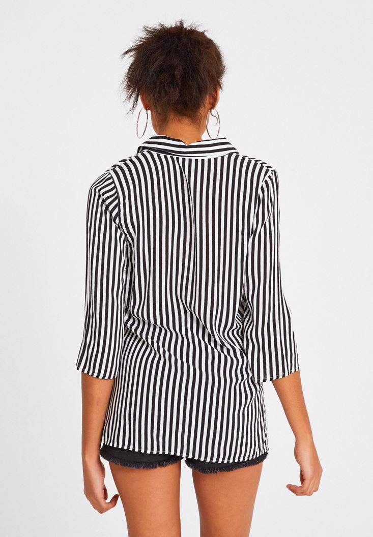 Women Mixed Long Sleeve Shirt with Stripe Detail