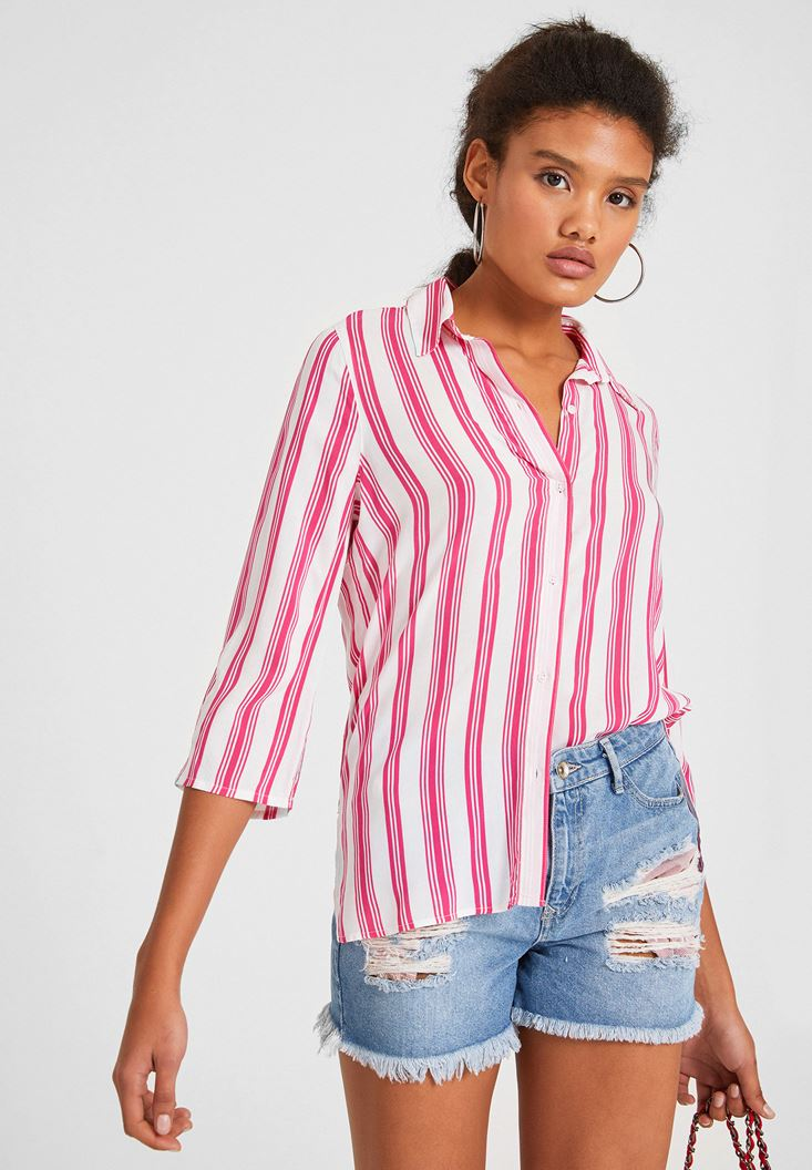 Mixed Long Sleeve Shirt with Stripe Detail