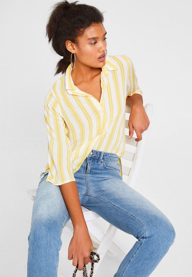 Çok Renkli Çizgi Desenli Uzun Kollu Gömlek