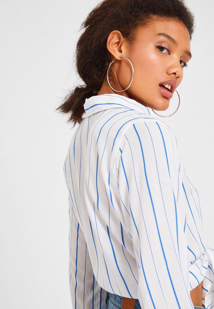 Women Mixed Long Sleeve Shirt with Stripe Detail