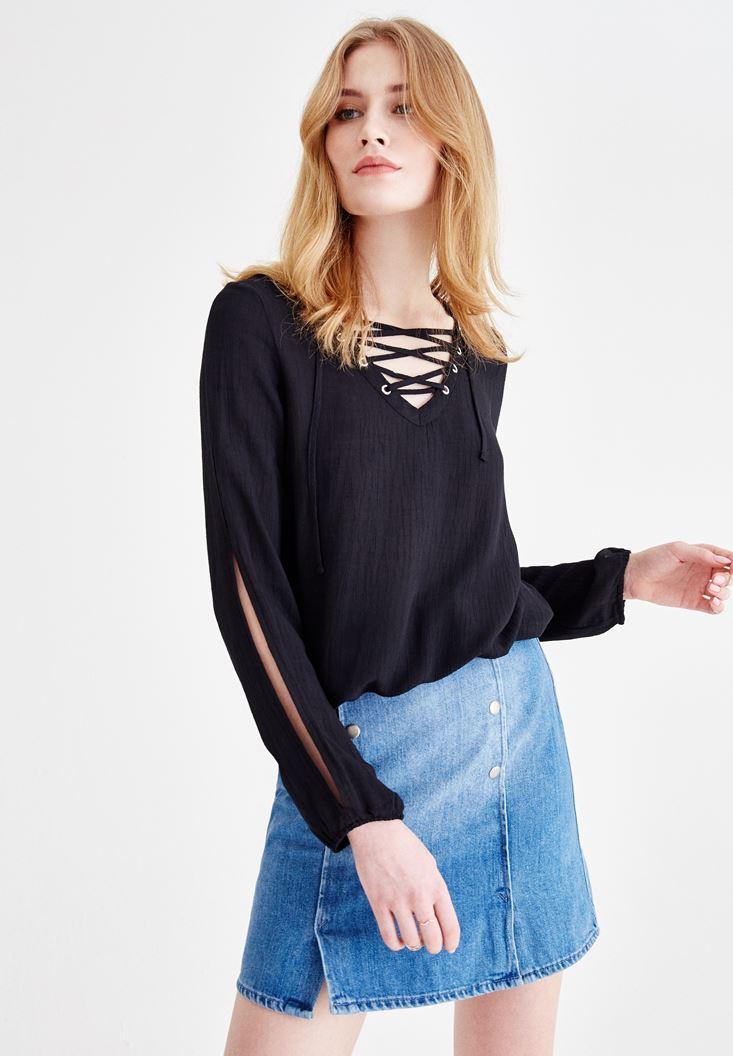 Siyah Önü Bağlamalı Kol Detaylı Bluz