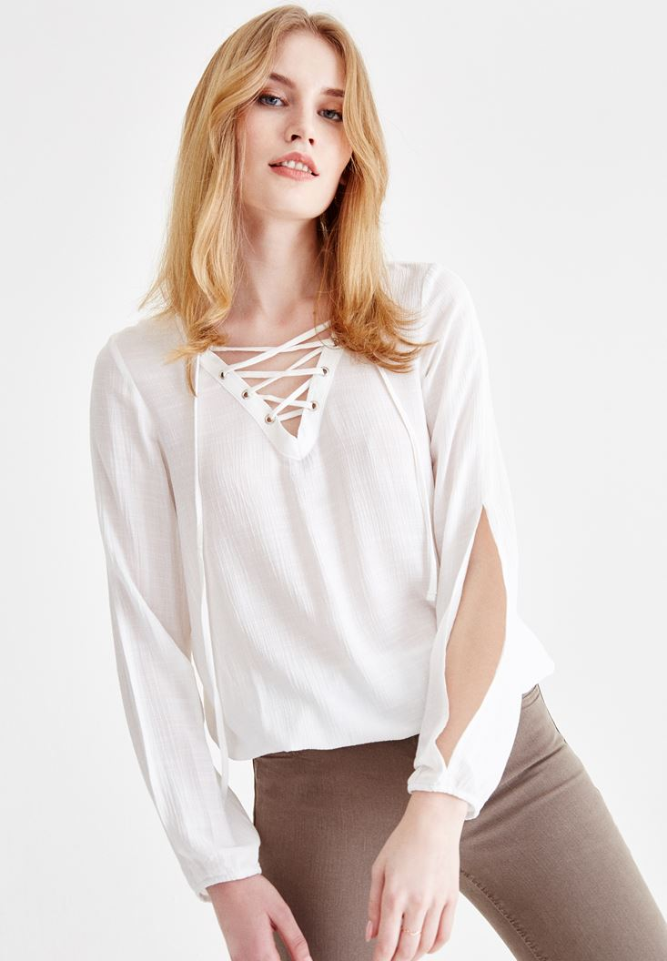 Women Cream Long Sleeve Blouse with Lace Up Details