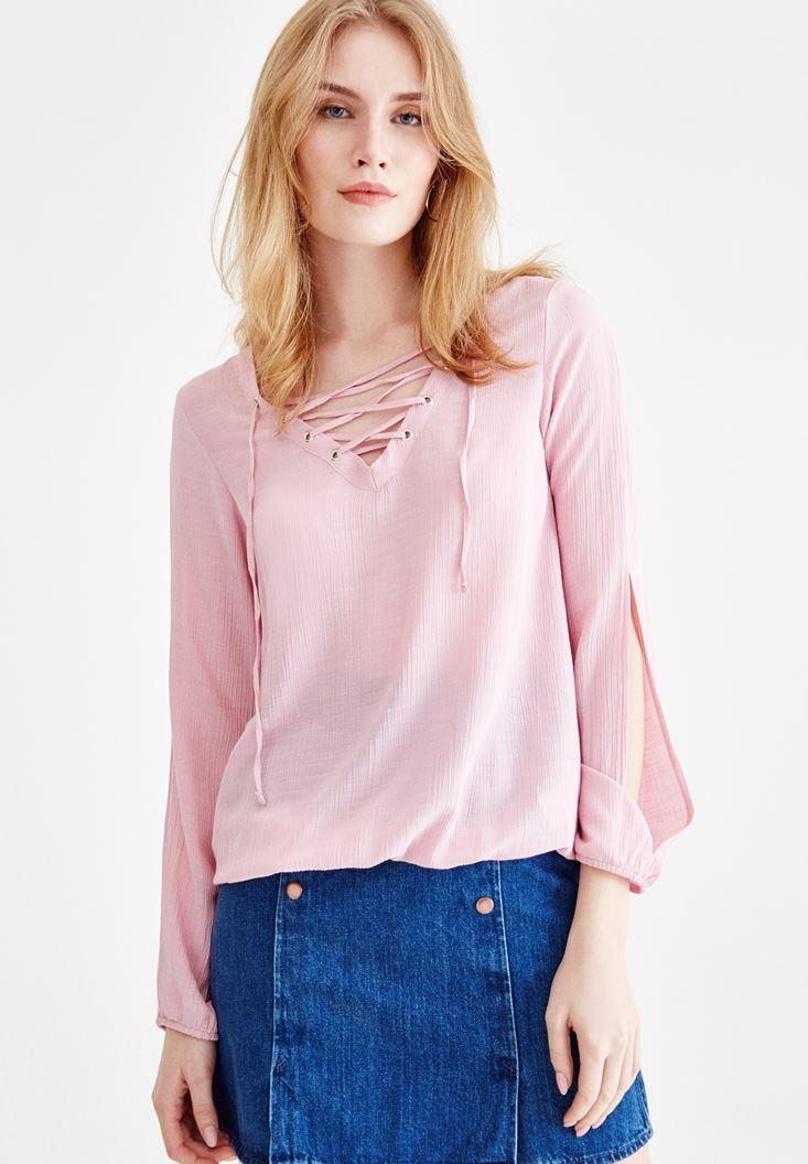 Pembe Önü Bağlamalı Kol Detaylı Bluz