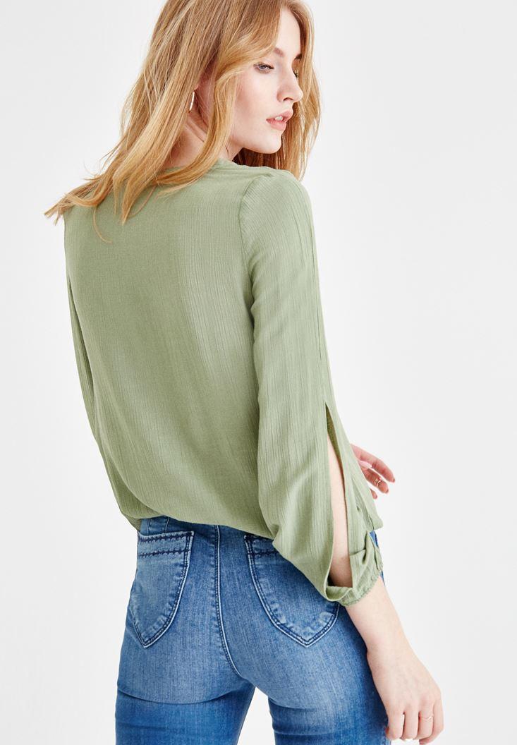 Bayan Yeşil Önü Bağlamalı Kol Detaylı Bluz