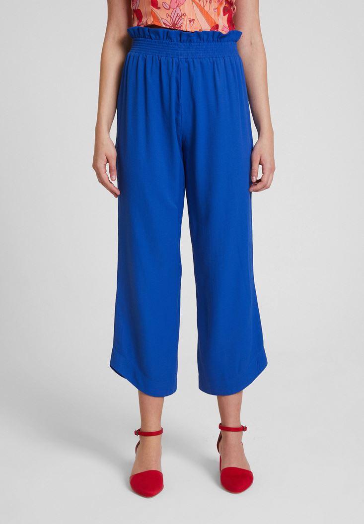 Lacivert Kemer Detaylı Bol Pantolon