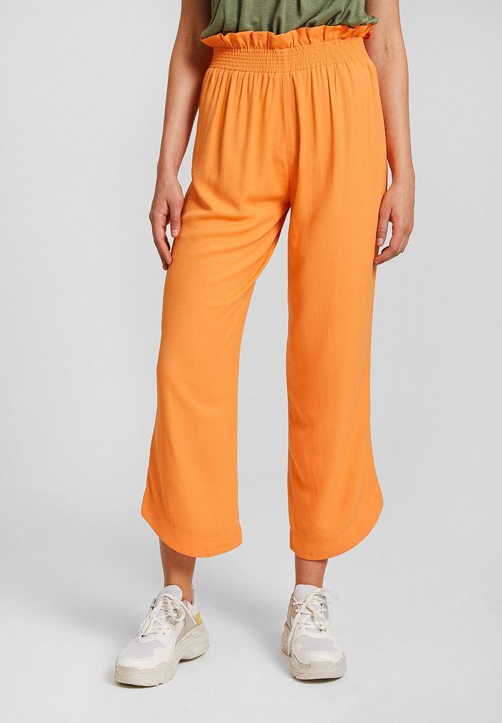 Turuncu Kemer Detaylı Bol Pantolon