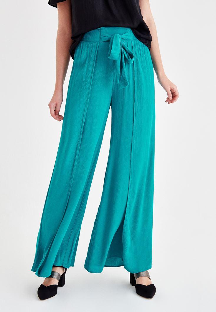Yeşil Yırtmaçlı Beli Bağlama Detaylı Pantolon