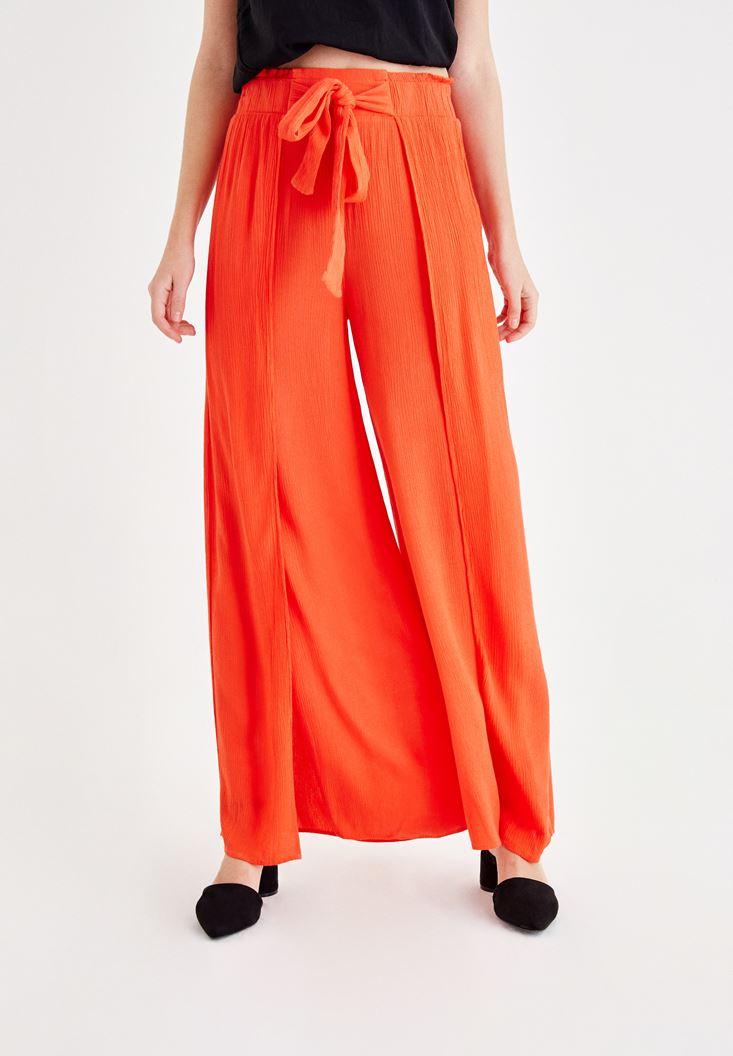 Turuncu Yırtmaçlı Beli Bağlama Detaylı Pantolon