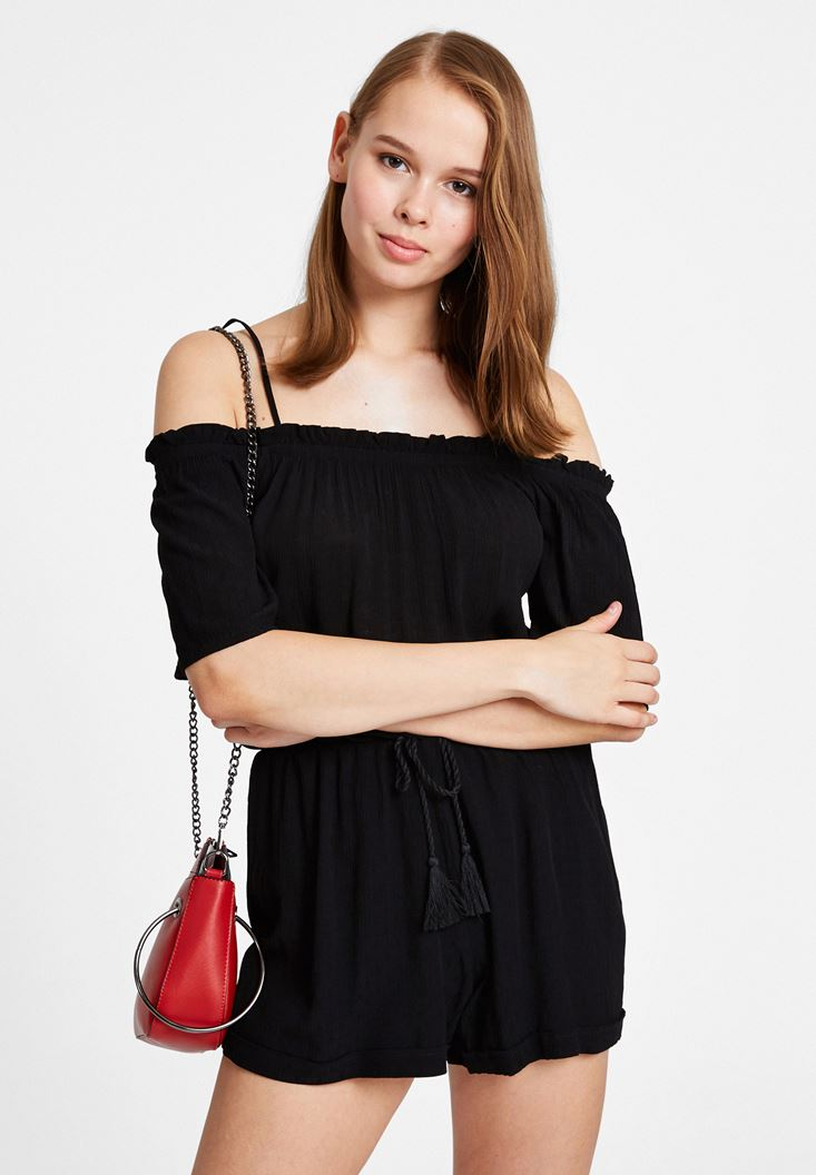 Black Jumpsuit with Gathered Neckline