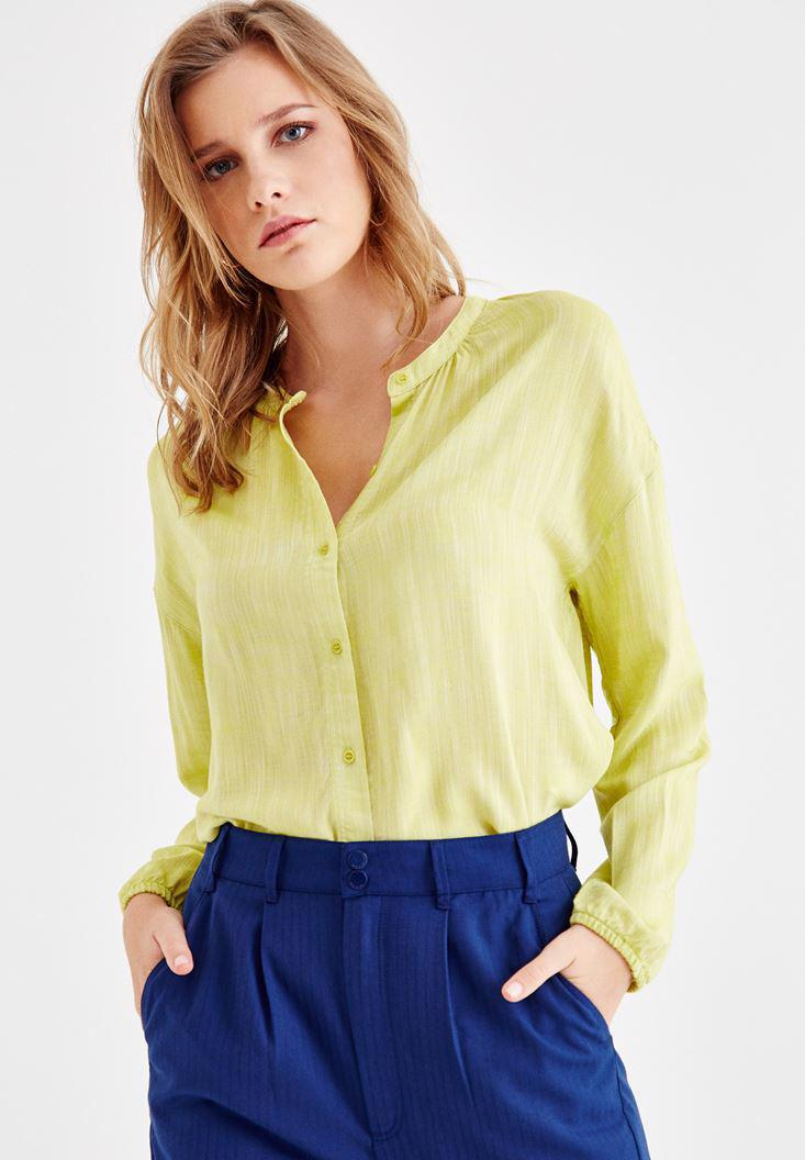 Women Green Shirt with Arm and Button