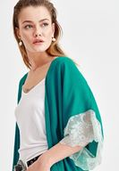 Women Green Jacket with Lace Details