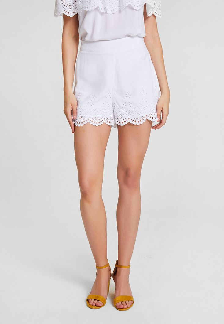 White Brode Cut Shorts