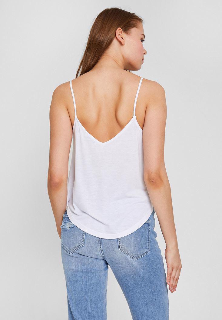 Women White Embroiredered Tank