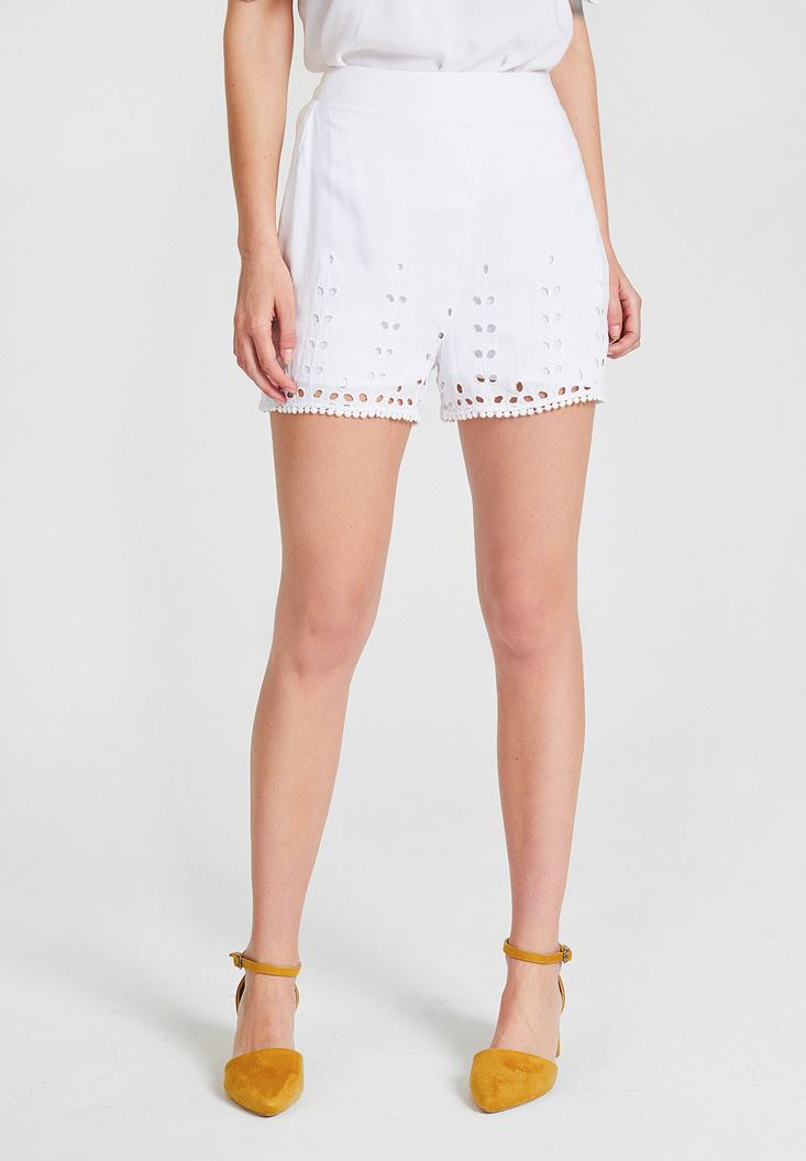 White High Rise Short with Details