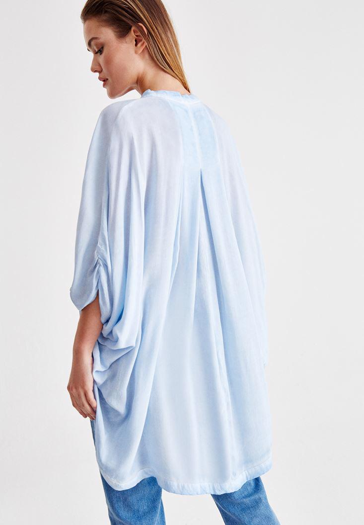 Bayan Mavi Sırt Detaylı Kimono