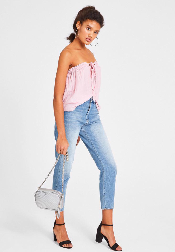 Bayan Pembe Bağlama Detaylı Straplez Bluz