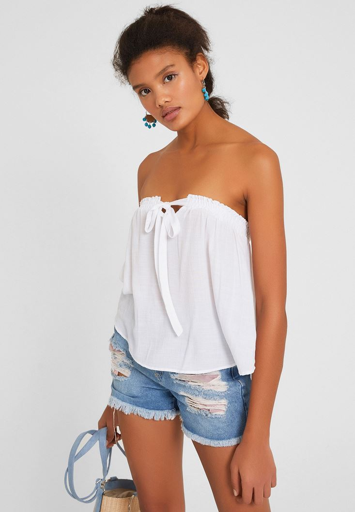 White Strapless Blouse with Details