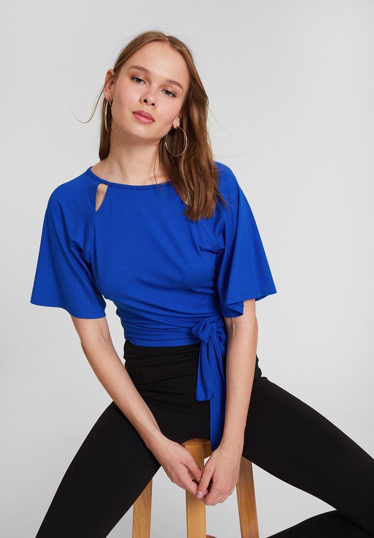 Lacivert Sırt Detaylı Beli Bağlamalı Bluz
