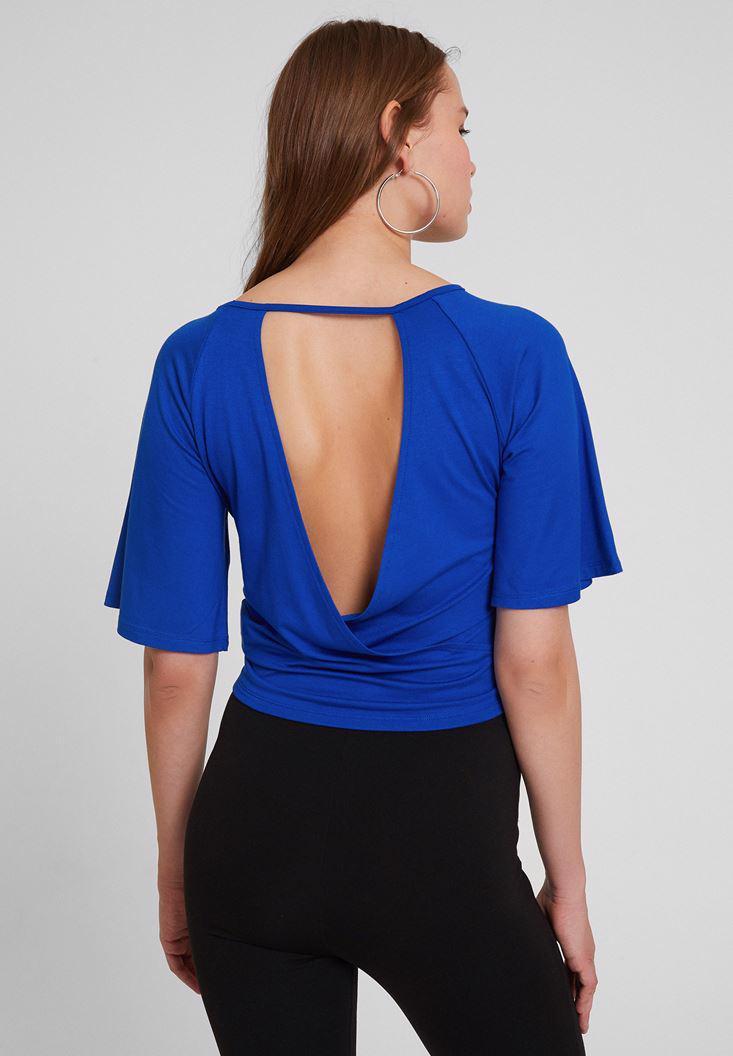 Bayan Lacivert Sırt Detaylı Beli Bağlamalı Bluz