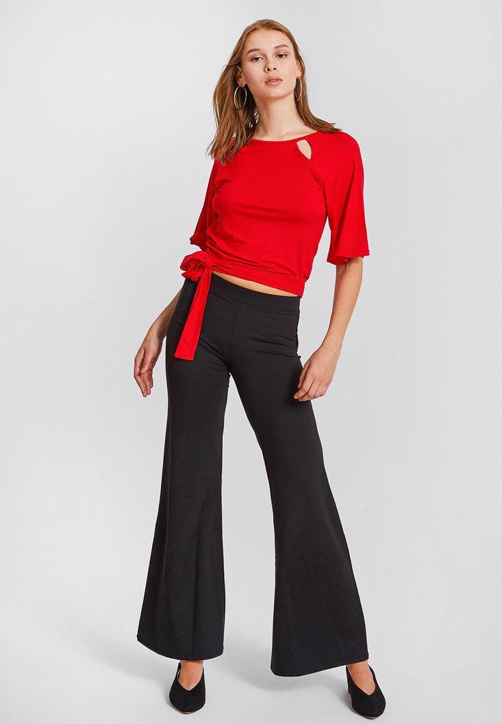 Bayan Kırmızı Sırt Detaylı Beli Bağlamalı Bluz
