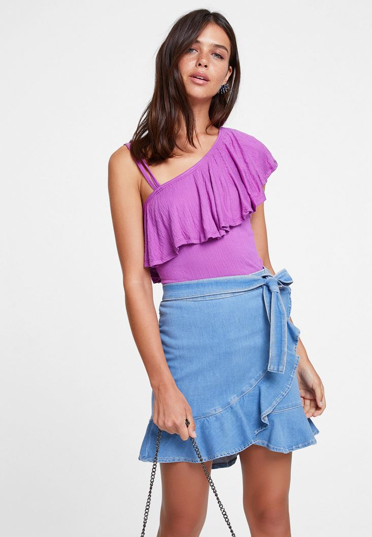 Purple Ruffled Blouse