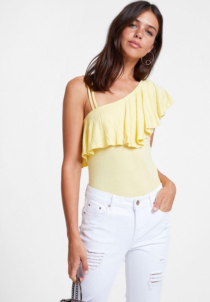 Sarı Fırfırlı Askı Detaylı Bluz