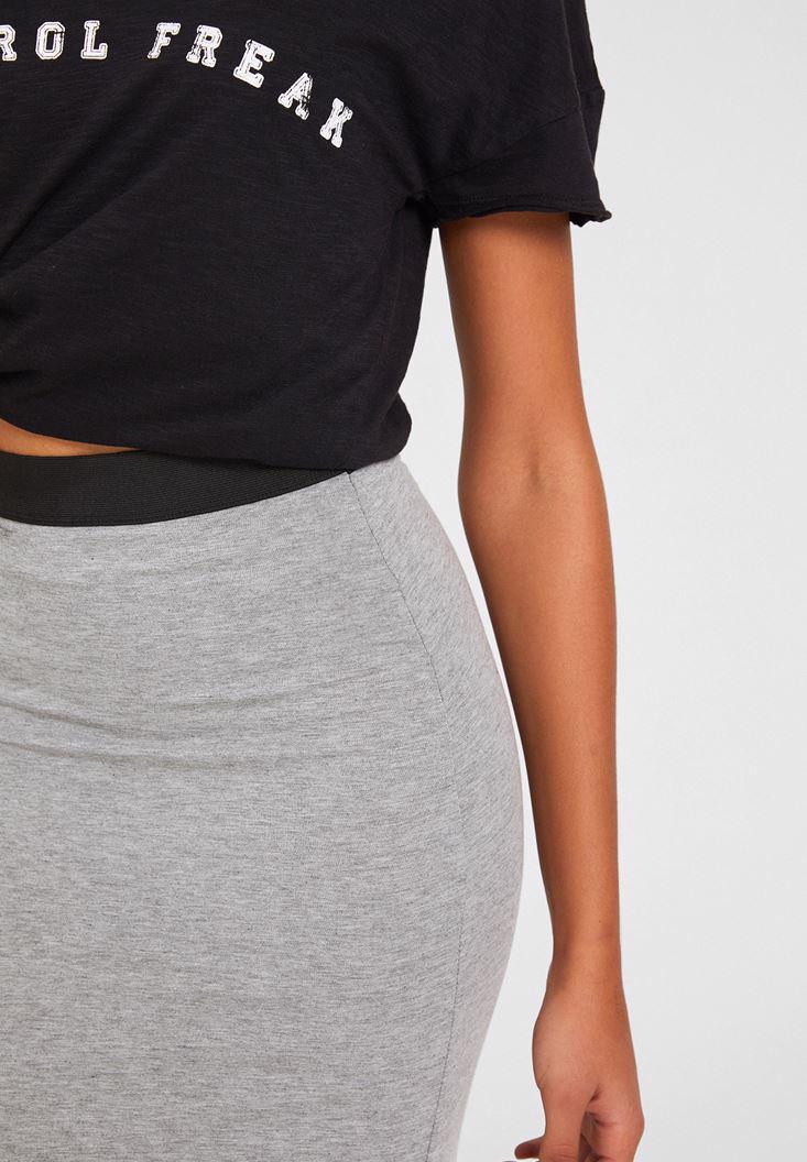 Women Grey Knee-Bottom Narrow Skirt with Detail