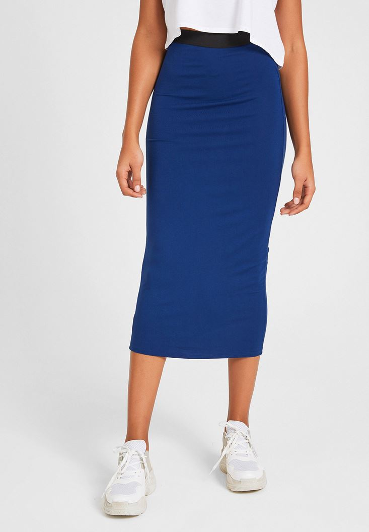 Navy Knee-Bottom Narrow Skirt with Detail
